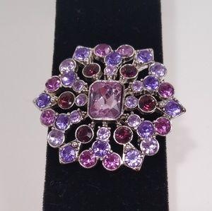 Liz Claiborne Brooch Pin Purple Pink Silver